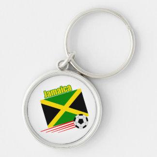 Equipo de fútbol jamaicano llavero redondo plateado