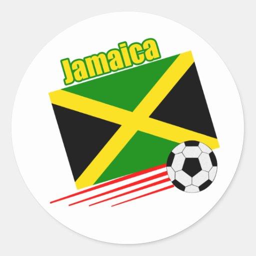 Equipo de fútbol jamaicano pegatina redonda
