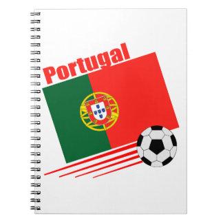 Equipo de fútbol portugués libreta espiral