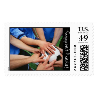 Equipo de fútbol sello postal