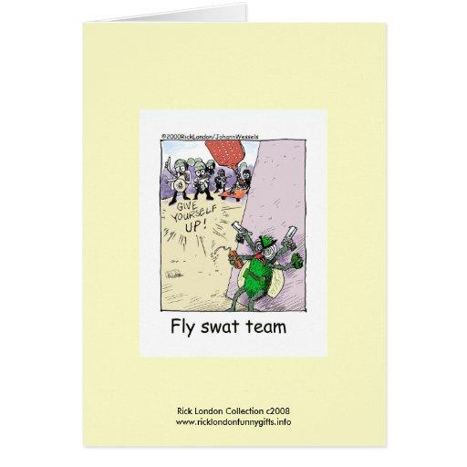 Equipo de golpe violento de la mosca del dibujo tarjeta pequeña