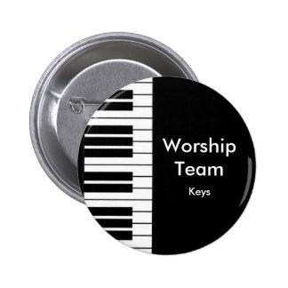 Equipo de la adoración, insignia de las llaves pin redondo de 2 pulgadas