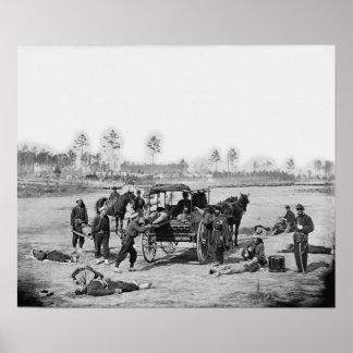 Equipo de la ambulancia de la guerra civil póster