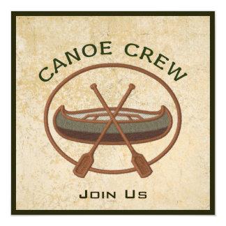 Equipo de la canoa invitación 13,3 cm x 13,3cm
