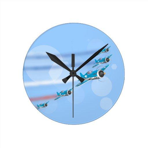 Equipo de la exhibición de las acrobacias aéreas reloj redondo mediano