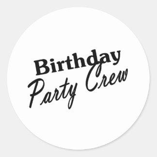 Equipo de la fiesta de cumpleaños pegatina redonda