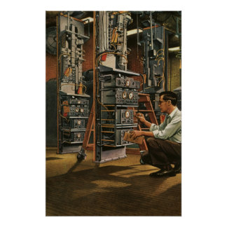 Equipo de la fijación del técnico de la radio del póster