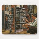 Equipo de la fijación del técnico de la radio del  alfombrillas de ratón