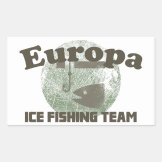 Equipo de la pesca del hielo del Europa Pegatina Rectangular