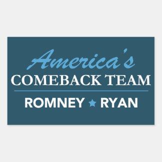Equipo de la reaparición de Mitt Romney Paul Ryan Rectangular Pegatinas