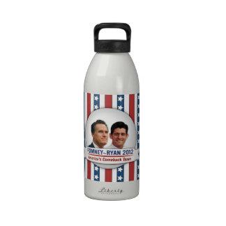 Equipo de la reaparición de Romney Ryan 2012 Améri Botallas De Agua