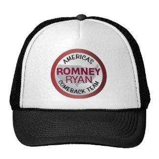 Equipo de la reaparición de Romney Ryan América Gorro