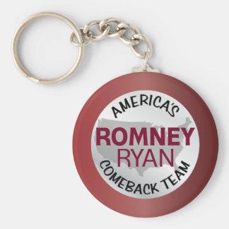 Equipo de la reaparición de Romney Ryan América Llavero Redondo Tipo Pin