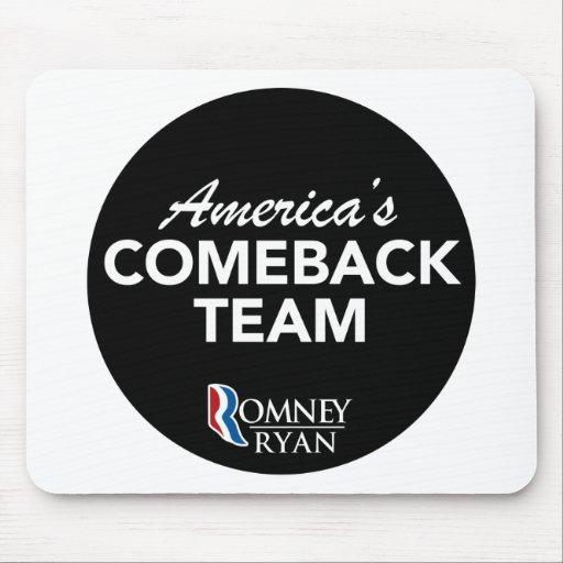 Equipo de la reaparición de Romney Ryan América re Tapetes De Ratón