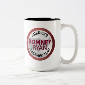 Equipo de la reaparición de Romney Ryan América Taza De Dos Tonos