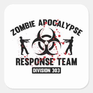 Equipo de la respuesta de la apocalipsis del zombi pegatina cuadrada