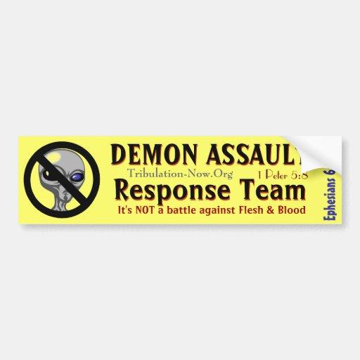 Equipo de la respuesta del asalto del demonio pegatina para auto