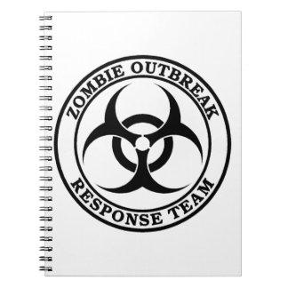 Equipo de la respuesta del brote del zombi (Biohaz Libro De Apuntes Con Espiral