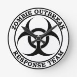 Equipo de la respuesta del brote del zombi (Biohaz Reloj De Pared