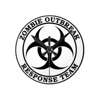 Equipo de la respuesta del brote del zombi (Biohaz Reloj Redondo Mediano