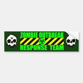Equipo de la respuesta del brote del zombi pegatina de parachoque