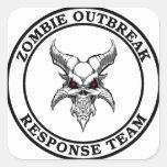 Equipo de la respuesta del brote del zombi (Demonh Calcomania Cuadrada Personalizada