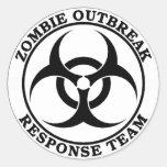 Equipo de la respuesta del brote del zombi pegatina redonda
