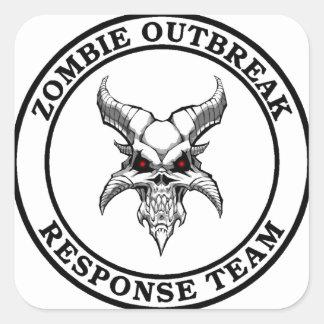 Equipo de la respuesta del brote del zombi calcomania cuadrada personalizada