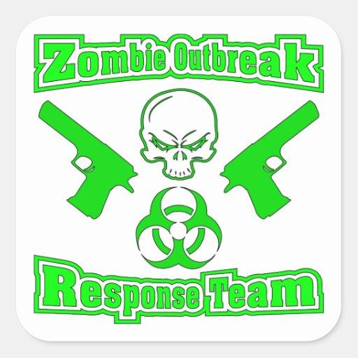 Equipo de la respuesta del brote del zombi pegatina cuadrada