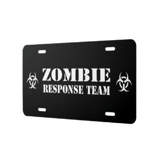 Equipo de la respuesta del brote del zombi placa de matrícula