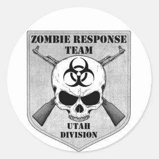 Equipo de la respuesta del zombi: División de Utah Pegatinas Redondas