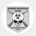 Equipo de la respuesta del zombi etiqueta redonda