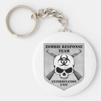 Equipo de la respuesta del zombi llavero redondo tipo pin