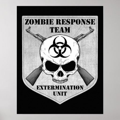 Equipo de la respuesta del zombi póster