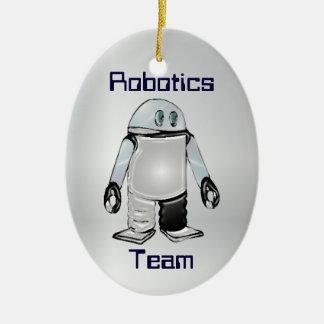 Equipo de la robótica u ornamento personalizado adorno navideño ovalado de cerámica