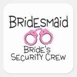 Equipo de la seguridad de las novias de la dama de colcomanias cuadradases