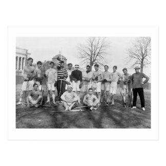 Equipo de LaCrosse del equipo universitario, 1908 Postal