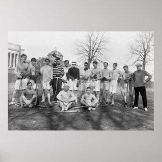 Equipo de LaCrosse del equipo universitario, 1908 Póster