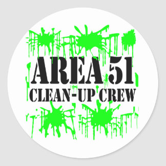 Equipo de limpieza del área 51 pegatina redonda