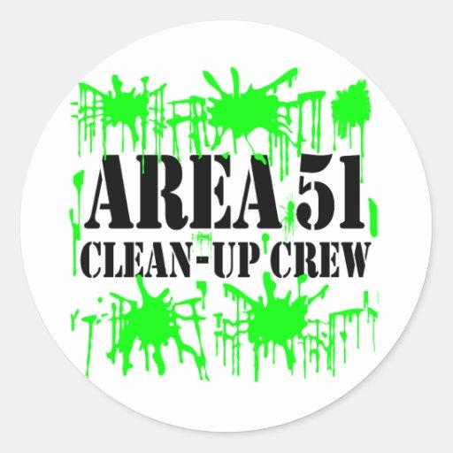Equipo de limpieza del área 51 etiquetas redondas