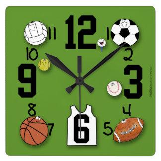 Equipo de los Carácter-Deportes de la bola de los Reloj Cuadrado