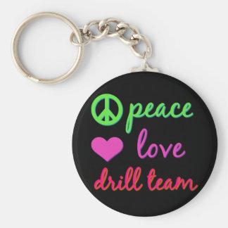 Equipo de perforación del amor de la paz llavero