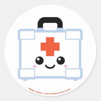 Equipo de primeros auxilios de los Pals de Medi Pegatina Redonda