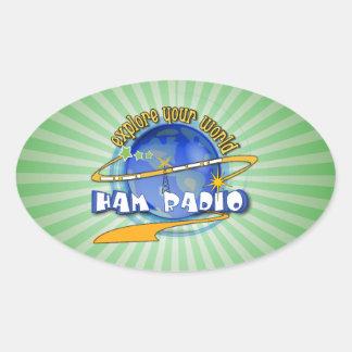 EQUIPO DE RADIO-AFICIONADO - EXPLORE SU MUNDO PEGATINA OVALADA