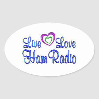 Equipo de radio-aficionado vivo del amor pegatina ovalada