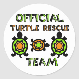 Equipo de rescate oficial 1 de la tortuga pegatinas redondas