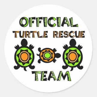 Equipo de rescate oficial 1 de la tortuga pegatina redonda