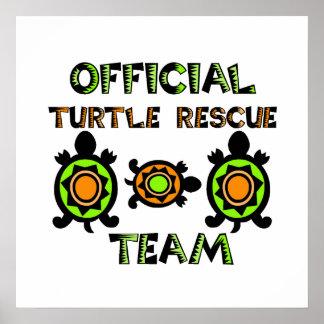 Equipo de rescate oficial 1 de la tortuga póster