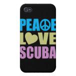 Equipo de submarinismo del amor de la paz iPhone 4 cárcasa