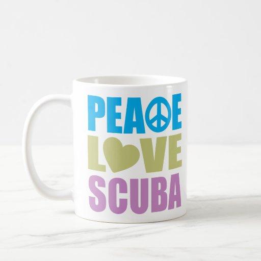 Equipo de submarinismo del amor de la paz taza de café